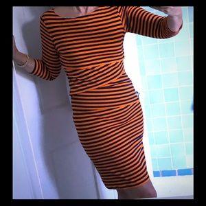 J McLaughlin Nicola Navy/Orange Stripe Dress S